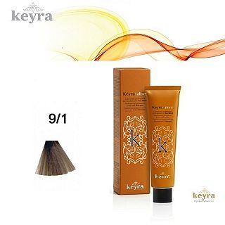 KEYRACOLORS VOPSEA PERMANENTA CU KERATINA, 9.1 ASH VERY LIGHT BLONDE 100ML ,KEY052